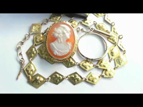 Antique Jewelry Suite - 14k Chain, Ring, & Pin/Pendant