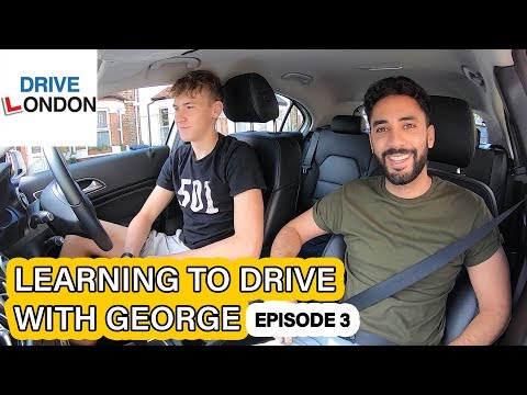 Learning to drive with George EPISODE 3 – Parallel park & two lane roundabouts – UK Driving test