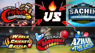 WHICH IS BETTER! - WCC2 VS WCB VS SACHIN SAGA VS AZHAR CRICKET VS CRICKET CHAMPIONS LEAGUE | HINDI