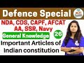 Defence Special General Knowledge by Shipra Ma'am |Day#26| Important Articles of Indian Constitution