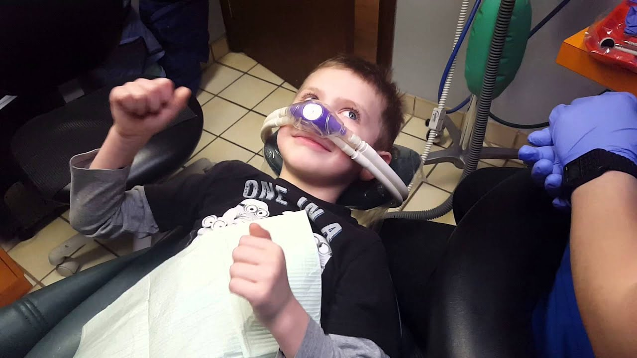 My son at the dentist   gets laughing gas