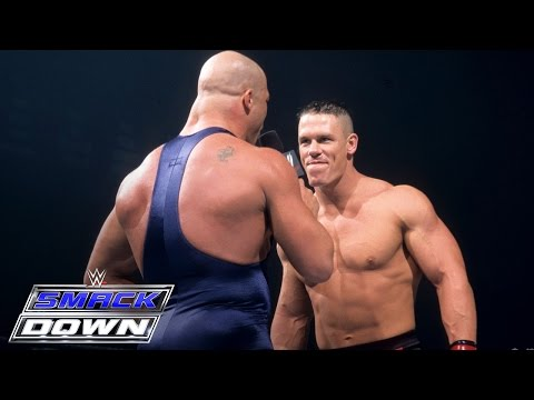 Thumbnail: A debuting John Cena accepts Kurt Angle's open challenge: SmackDown, June 27, 2002