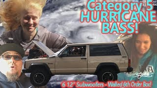 Category 5 Hurricane BASS! 6 12's 6th Order Bandpass Wall - CRAZY Wind! MUST SEE!