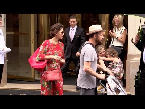 EXCLUSIVE: Maggie Gyllenhaal  and her family leaving Paris