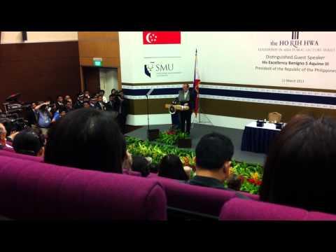 President Benigno Aquino III speaks at the Singapore Management University