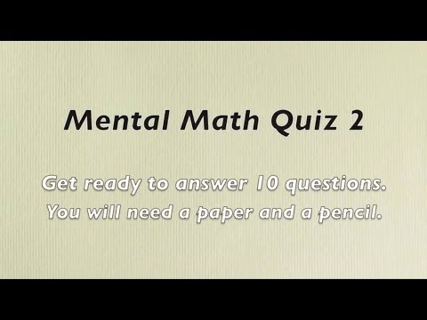 Mental Math Quiz 2 Grades 2 And 3 Math Numeracy Skills