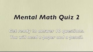 Mental Math Quiz 2 - Grades 2 and 3 Math - Numeracy Skills - Sparkles Online School