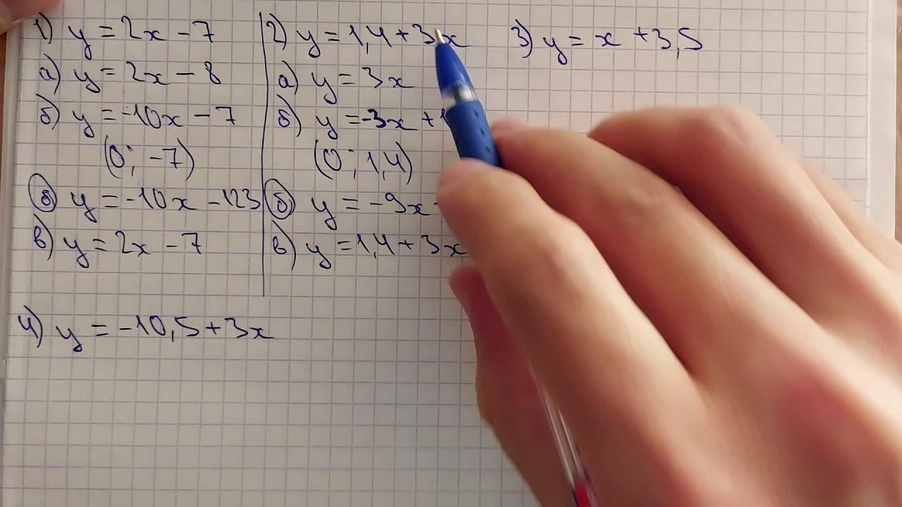 7-алгебра. 23.3-есеп. Сызықтық функция графиктерінің өзара орналасуы.