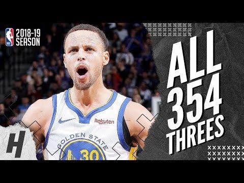 Stephen Curry ALL 354 Three-Pointers in 2018-19 NBA Regular Season