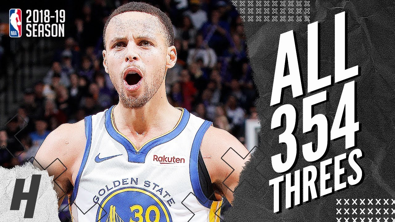 ac26c7fa6d53 Stephen Curry ALL 354 Three-Pointers in 2018-19 NBA Regular Season ...