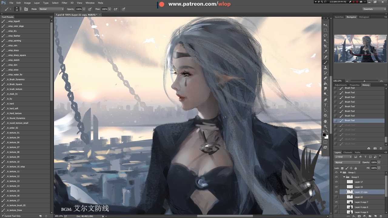 Photoshop painting process -  Hometown 【Dungeon & Fighter fanart】