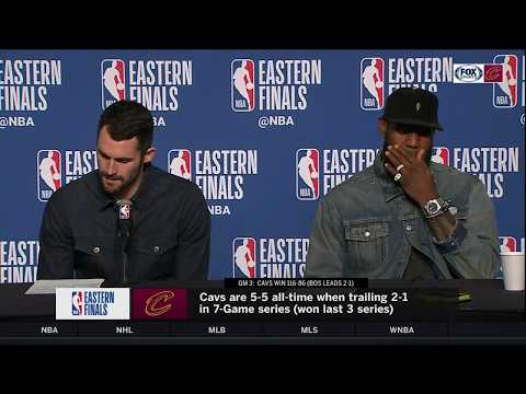 LeBron James & Kevin Love postgame press conference after Cavs' blowout win over Celtics