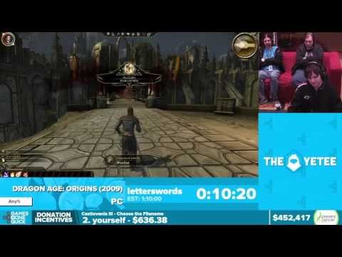 Dragon Age: Origins by letterswords in 49:52 - Awesome Games Done Quick 2016 - Part 103
