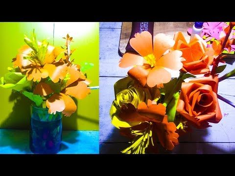 how to make easy orgami paper flowers with vase - best crafts ideas
