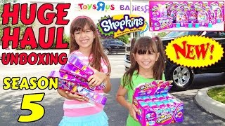 SHOPKINS SEASON 5 HUGE HAUL AND UNBOXING - Petkins Backpack Blind Bags Full Case Opening!