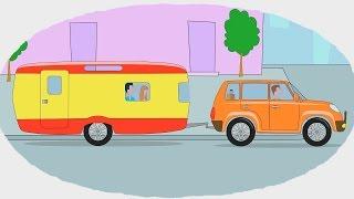 Мультик - Раскраска. Учим Цвета - Мультфильмы про машины - Дома на колесах