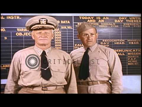 Admiral Chester W. Nimitz  aboard the USS Yorktown underway in the Pacific Ocean ...HD Stock Footage