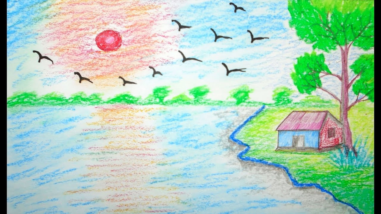 How to draw scenery scenery drawing scenery for kids for How to draw nature for beginners