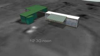 Container Shed Shadow Animation Study, Sketchup
