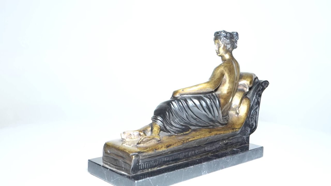 Bronze statue lady on chaise lounge youtube for Chaise youtubeur