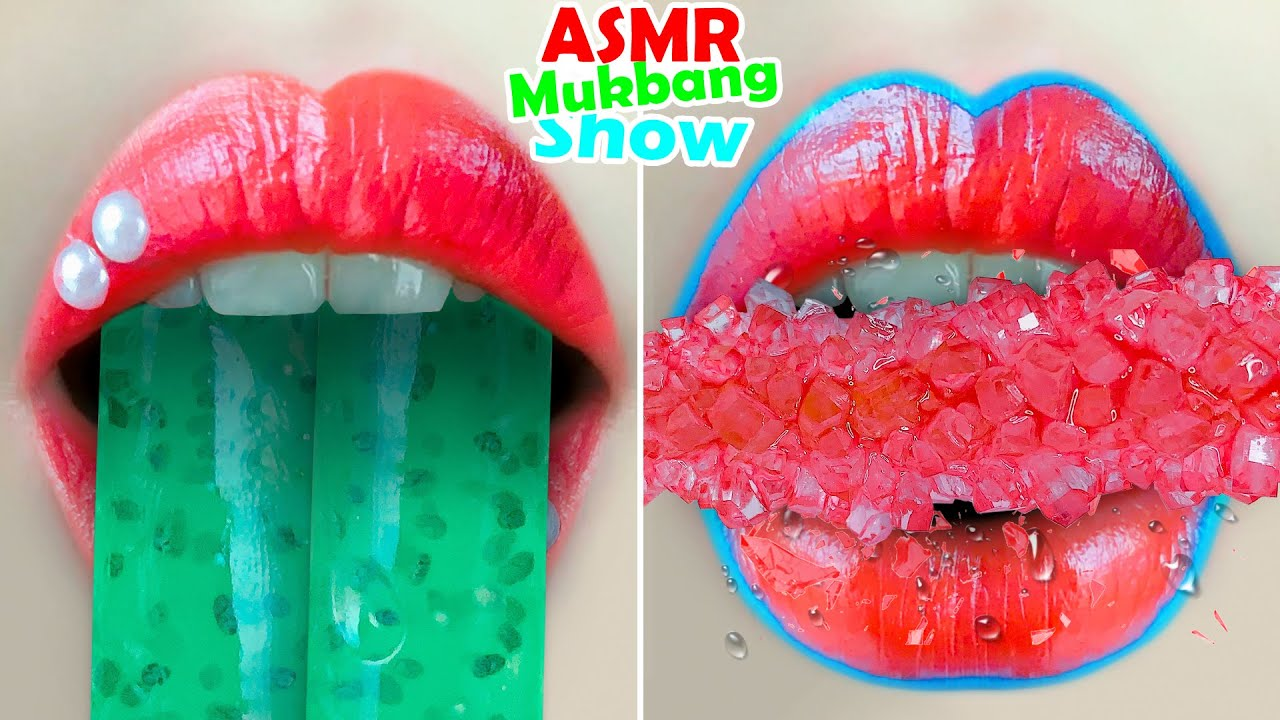 asmr GREEN FROG EGG JELLY┇RUBY ROCK CANDY┇HONEY JELLY┇HONEYCOMB eating sounds