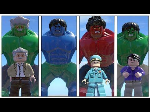 Hulk,Stan lee,Red Hulk,(Transformation) Vs Blue Hulk - Lego Marvel Super Heroes Game