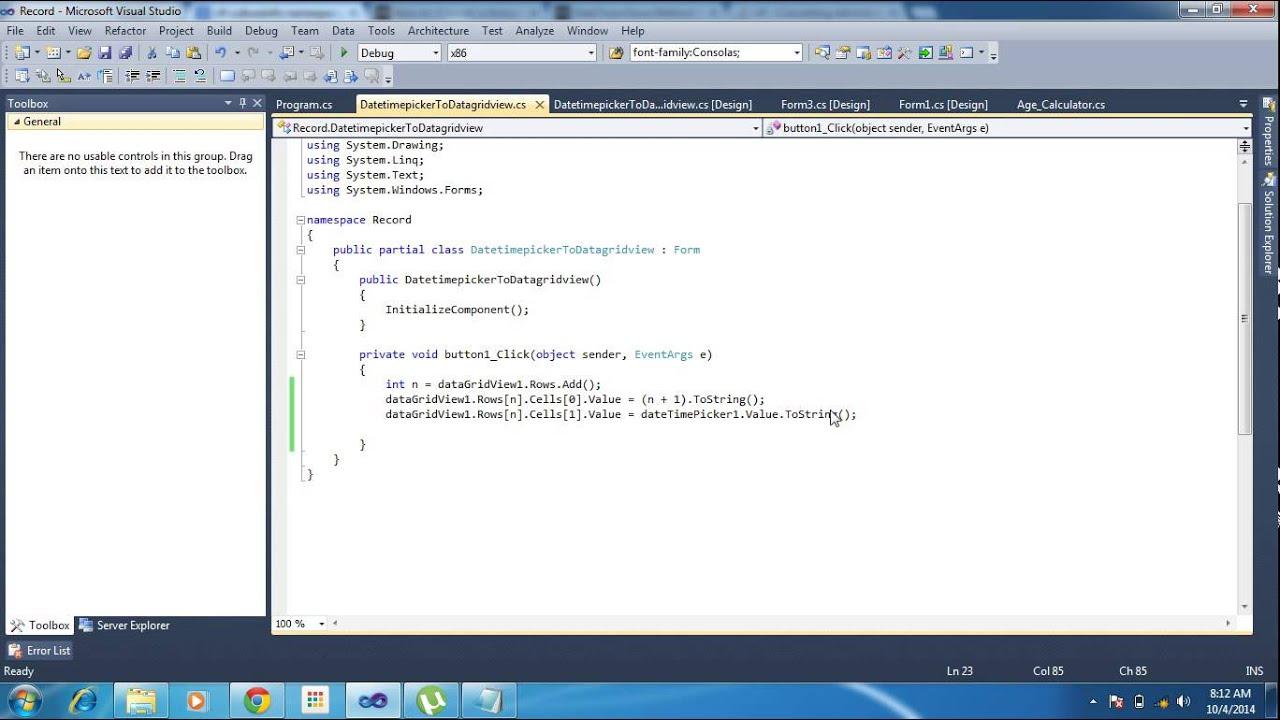 C# Datetimepicker to Datagridview and datagridview to datetimepicker