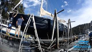 Vinyl Hull Yacht Wrap in 3M 1080 Boat Blue at Pittwater Marine