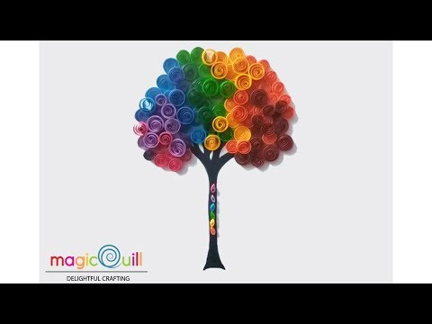 DIY | quilled rainbow tree wall art | Quilling for beginners | Magic Quill