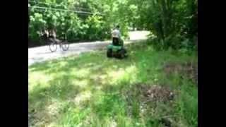 John Deere LT160 mowing!