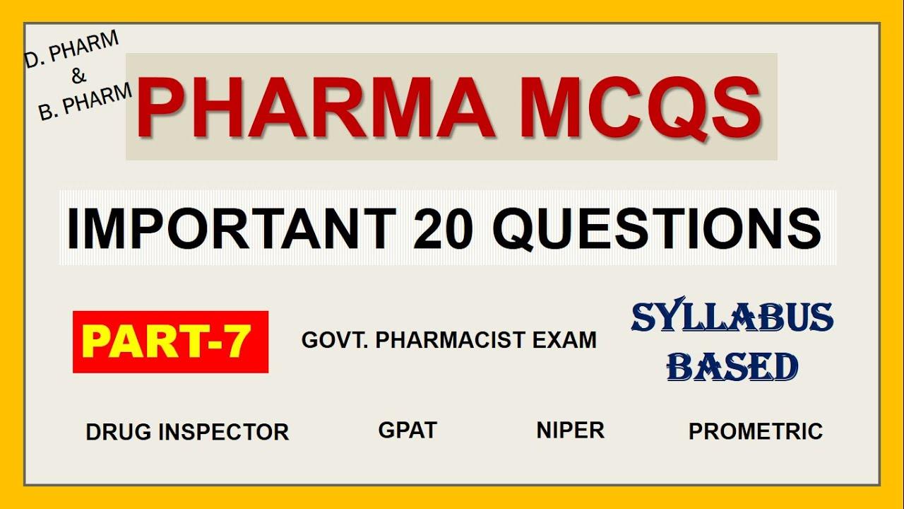 PHARMACY MCQS PART-7 | IMPORTANT 20 QUESTIONS