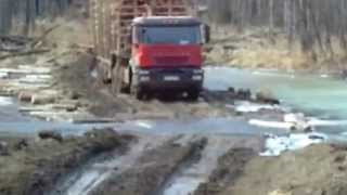 ЛЕСОВОЗ IVECO БЕРЁТ БРОД РЕКИ САМАРГА мега машины экстрим в лесу американские лесоруб отдхают