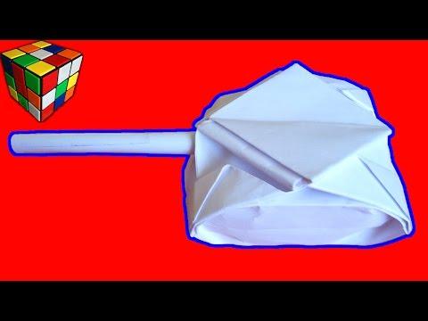 Ролик Оригами Танк. Как сделать танк из бумаги своими руками. Поделки из бумаги