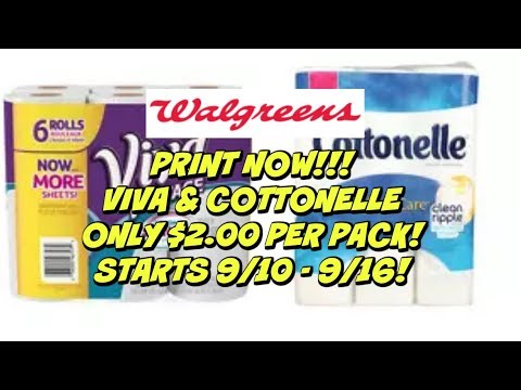 WALGREENS PRINT NOW COUPONING DEAL | VIVA & COTTONELLE $2.00 EACH | 9/10 – 9/16