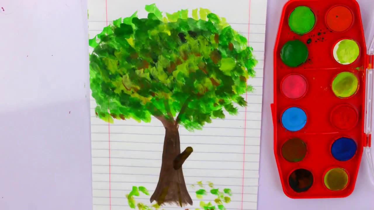 رسم شجرة جميلة بالالوان المائيه رسم سهل للاطفال خطوه بخطوه Youtube