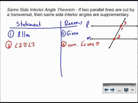 Same side interior angles proof youtube - Define exterior angle of a polygon ...