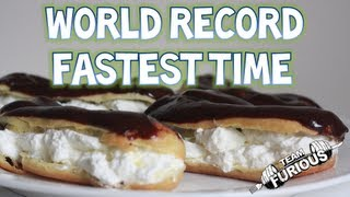 Fastest Time To Eat 3 Chocolate Eclairs - 18.02s (Guinness World Records) | Furious Pete