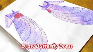 How to draw Butterfly dress | Fancy Dress Drawing | Pencil Dress, Dress Drawing, Speed Art