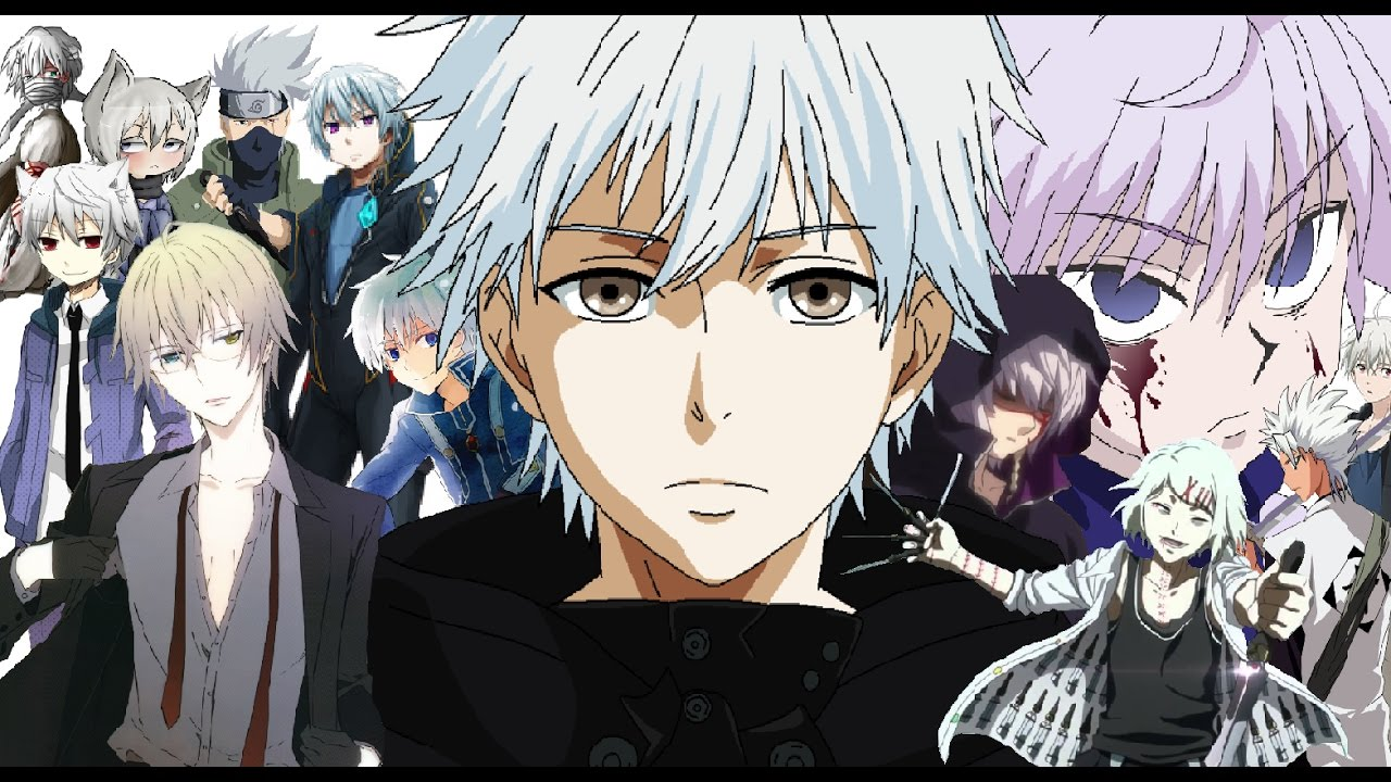 anime - boy; white grey
