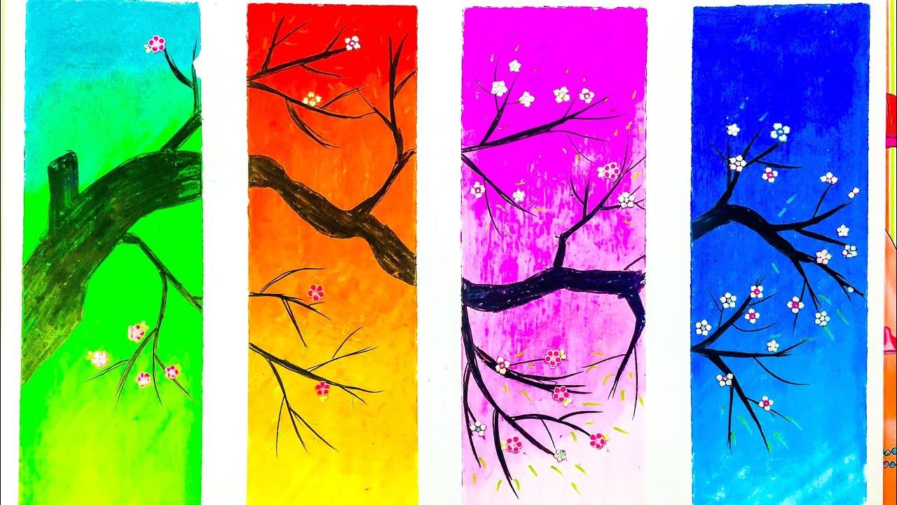 Hướng dẫn vẽ tranh bốn mùa/  Cách vẽ tranh bằng màu sáp /  Susu tv