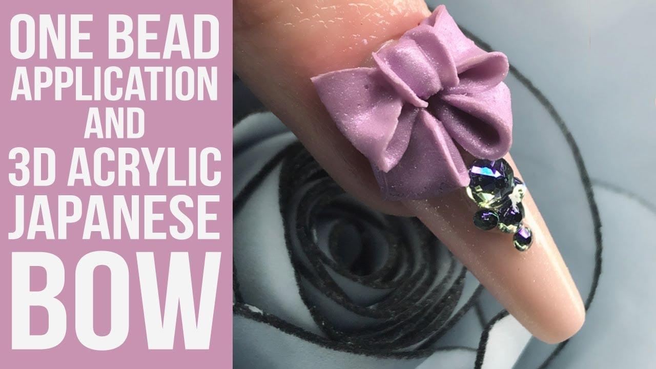 Japanese Style 3D Acrylic Bow on a One Bead Application Ballerina Nail