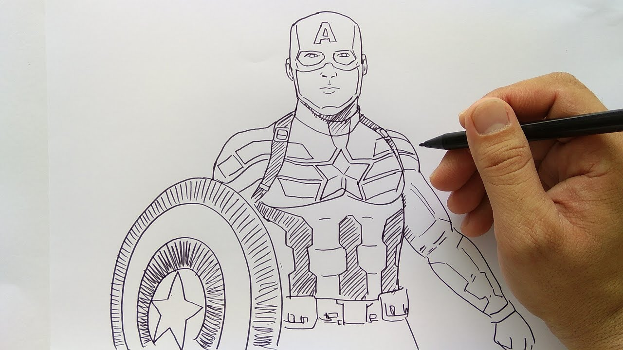 cara menggambar captain america