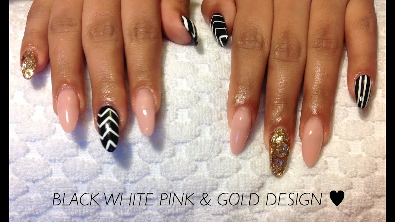 How To Black White Zig Zag Nails