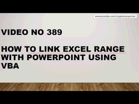 Learn MS Excel - Video 389- VBA - POWERPOINT- LINK EXCEL TABLE  RANGE WITH SLIDE