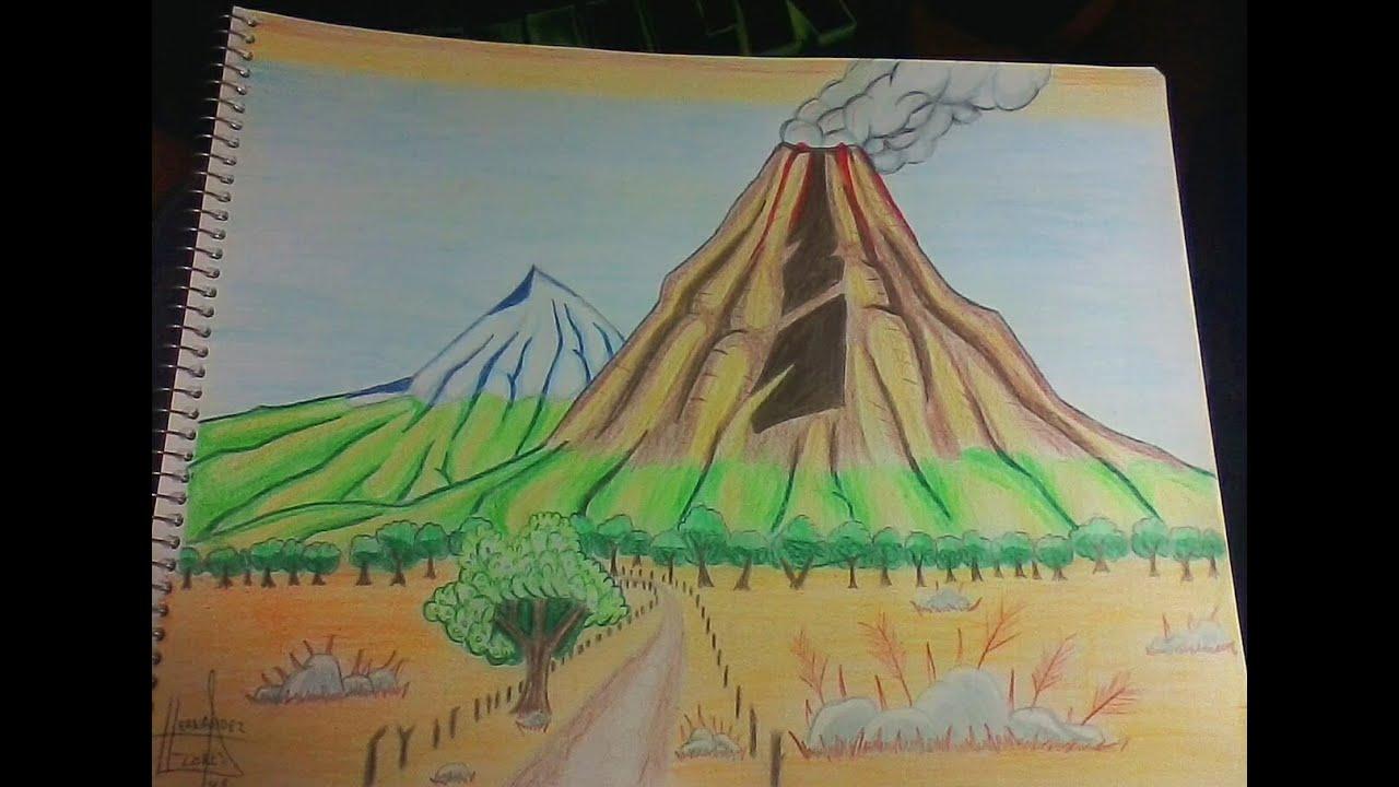 Cómo Dibujar Los Volcanes De Colima Youtube