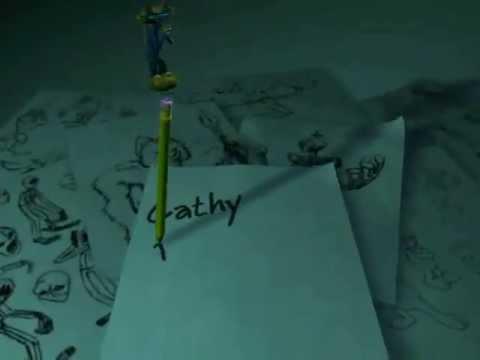 Jynx as a pencil topper writing a name