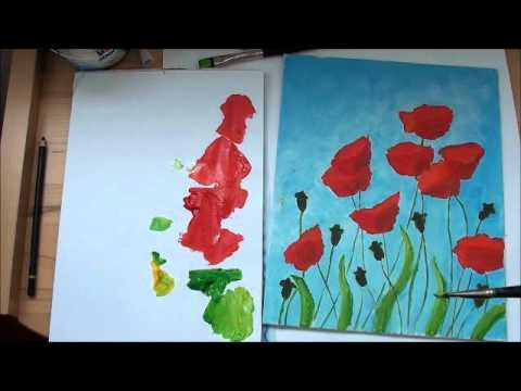 Malen In Acryl Mohnblumen Teil 3 4 Youtube