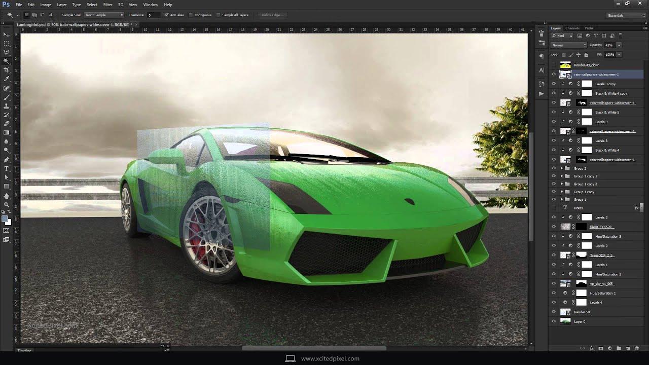 Lamborghini 3d render post processing in photoshop youtube for Rendering 3d online gratis