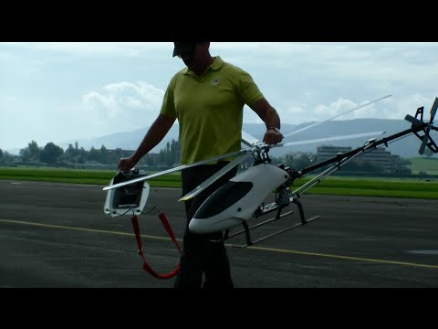 Giant 5 blade RC Helicopter test flight white Canopy not finished & Giant 5 blade RC Helicopter test flight white Canopy not finished ...