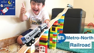 Johny Unboxes MTA Munipals Metro North Railroad With MTA Train Toys On Biggest Wooden Track Layout